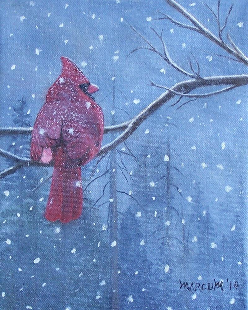 """CArdinal in the Snow"" original fine art by John Marcum"