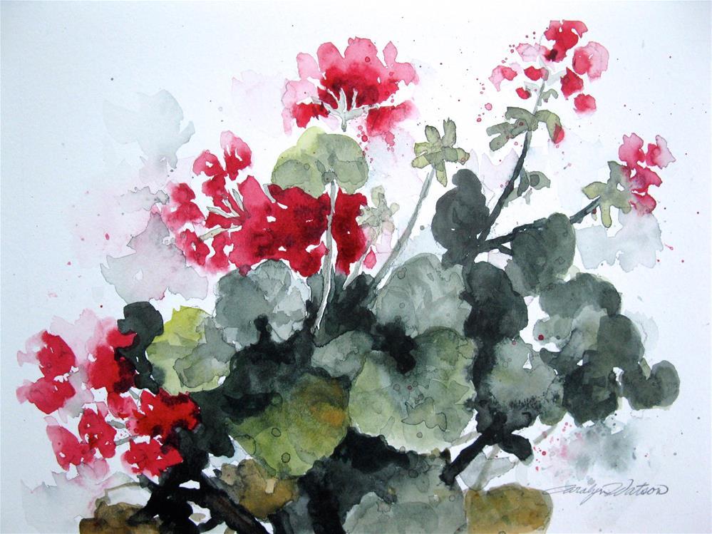 """Red Geranium"" original fine art by carolyn watson"