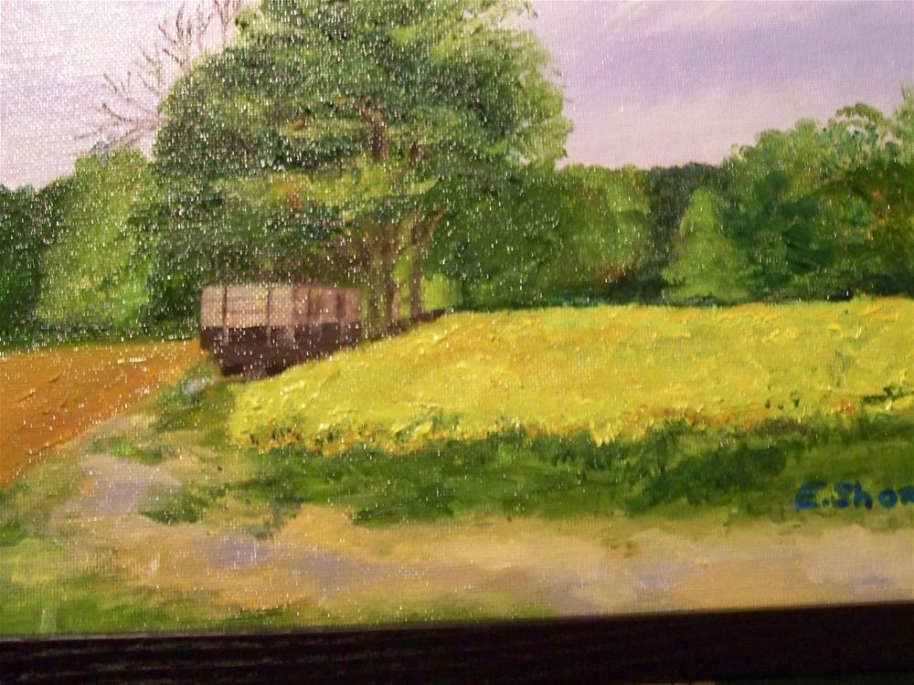 """""""Cart Next to Ripening Soybean Field"""" original fine art by Elaine Shortall"""