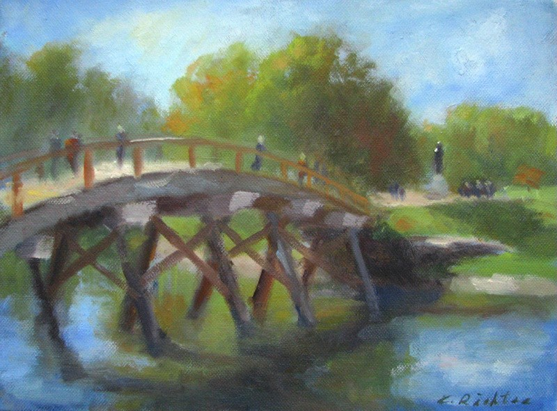 """Old North Bridge, Minuteman Park"" original fine art by Keiko Richter"