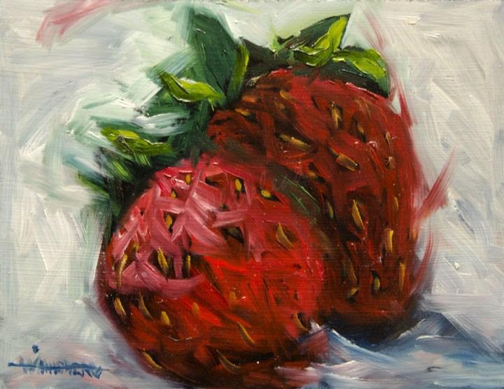 """ARTOUTWEST PAINTING DIANE WHITEHEAD STRAWBERRIES FRUIT SILL LIFE"" original fine art by Diane Whitehead"