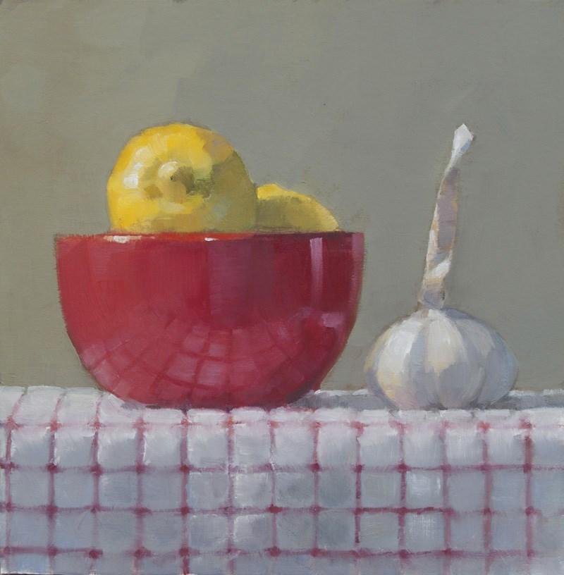 """Lemons & Garlic"" original fine art by Nancy  Spinadel"