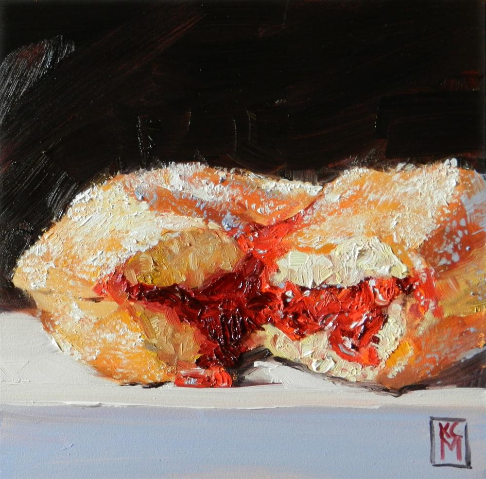"""Broken, 6x6 Inch Oil Painting of a Jelly Donut by Kelley Macdonald"" original fine art by Kelley MacDonald"