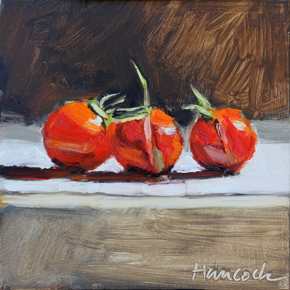 """Three Cherry Tomatoes"" original fine art by Gretchen Hancock"