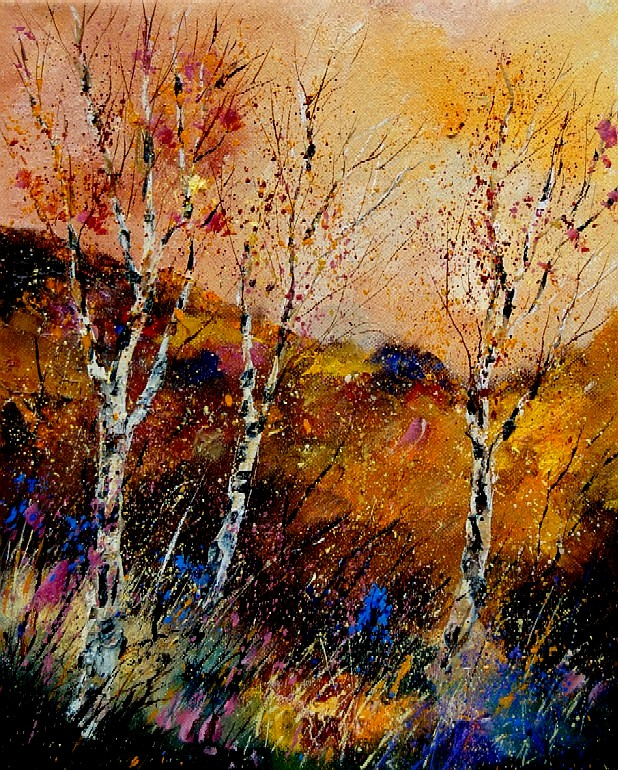 """Three poplars"" original fine art by Pol Ledent"