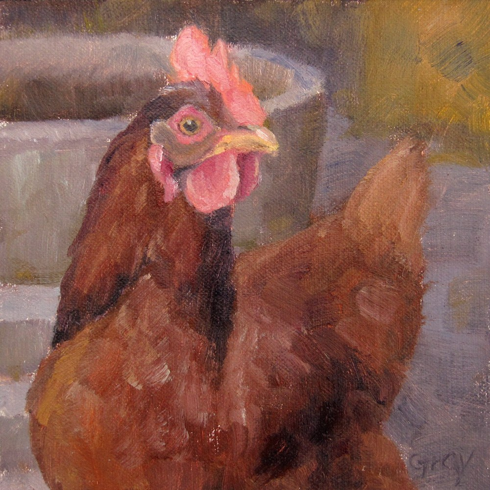 """Aunt Bea the Chicken No.2"" original fine art by Naomi Gray"