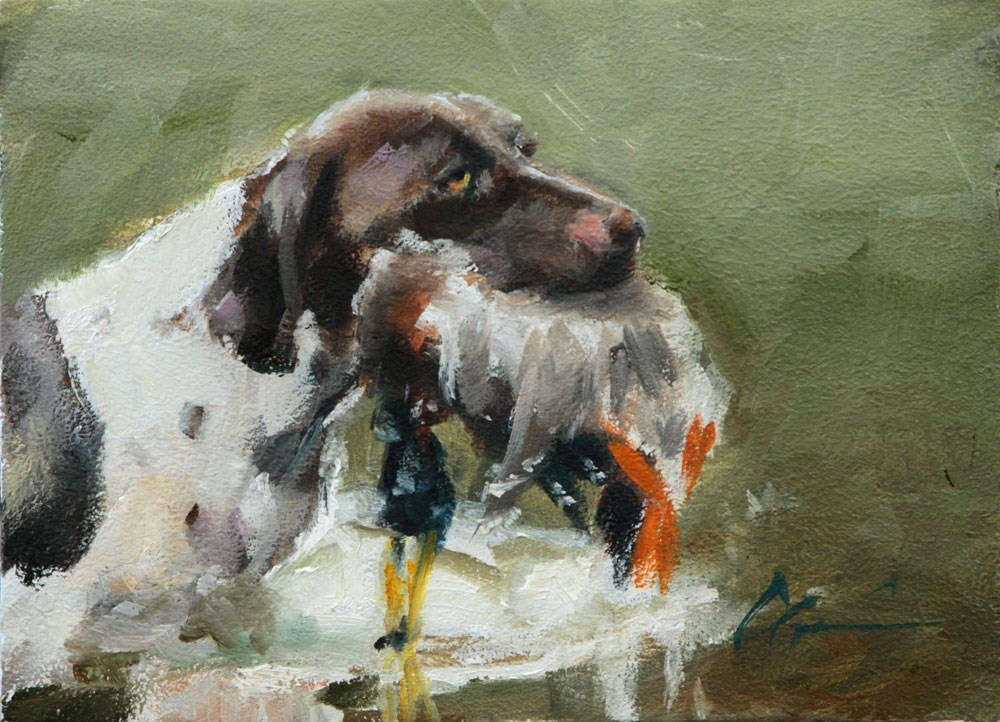"""Bird Dog"" original fine art by Clair Hartmann"