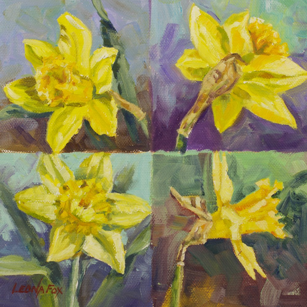 """Daffodil"" original fine art by Leona Fox"