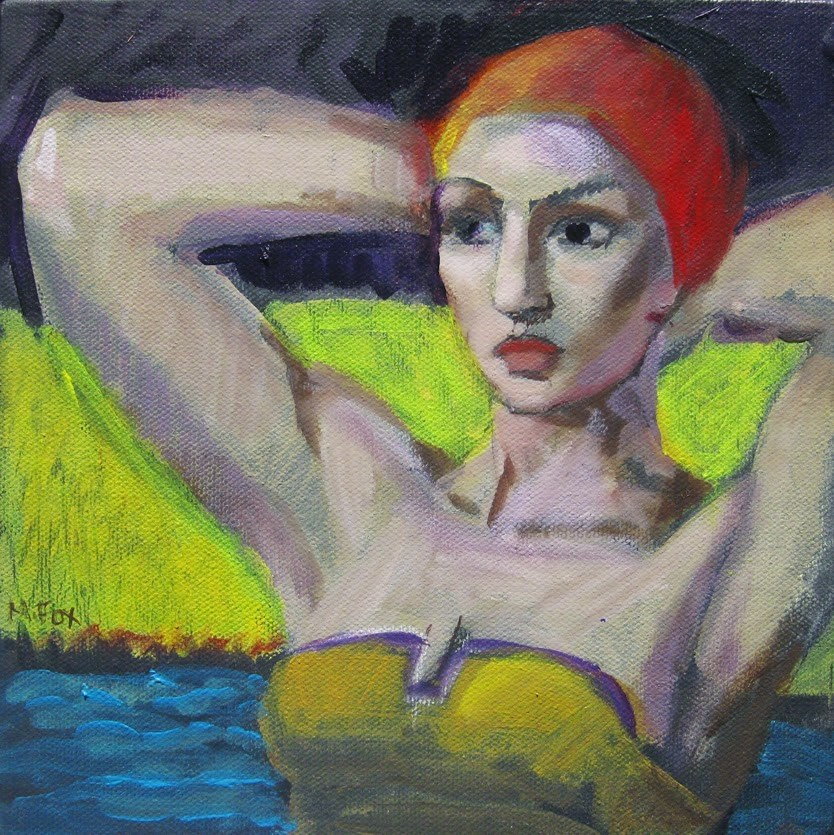 """Bathing woman, figurative female, figuration, woman swimming in ocean, contemporary figurative paint"" original fine art by Marie Fox"