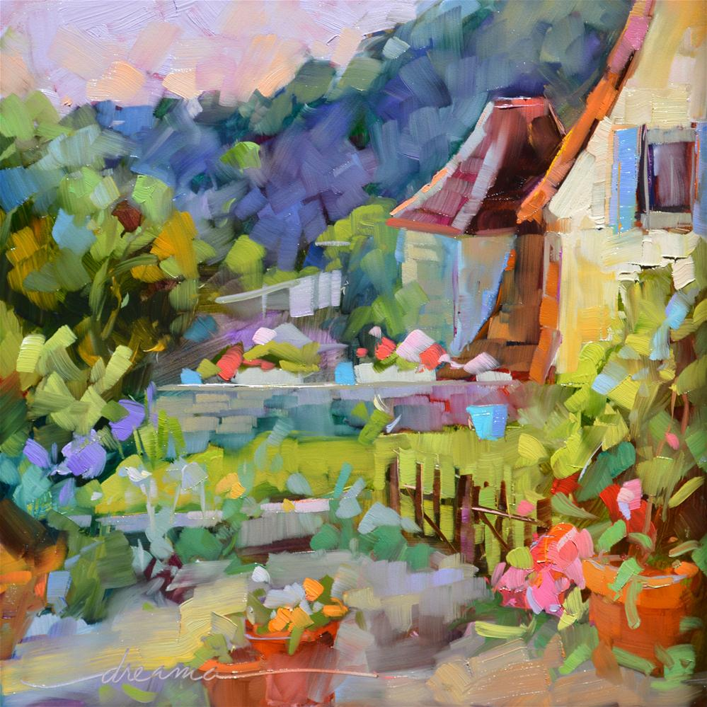 """Backyard France"" original fine art by Dreama Tolle Perry"