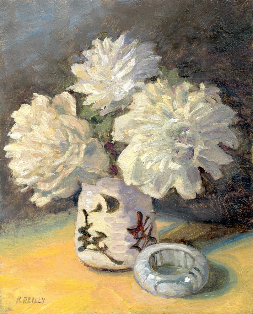 """White Peonies"" original fine art by Kath Reilly"