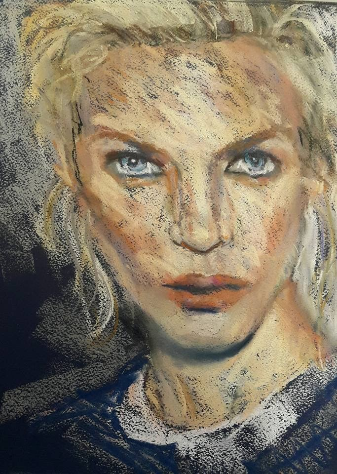 """Portrait in pastel"" original fine art by Rentia Coetzee"
