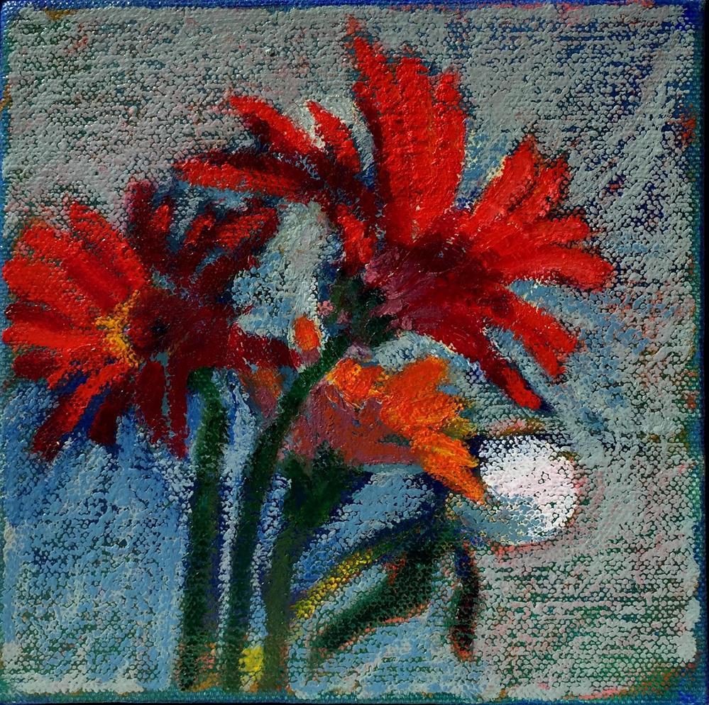 """Red Gerbers"" original fine art by Diane Paroda"