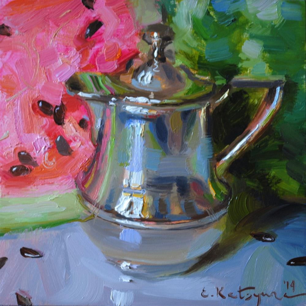 """Silver and Watermelon"" original fine art by Elena Katsyura"