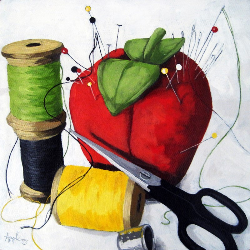 """Pins & Needles sewing still life oil painting"" original fine art by Linda Apple"