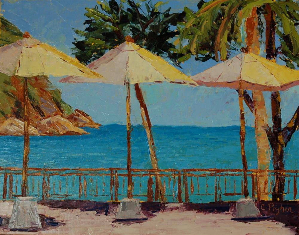 """Three Umbrella"" original fine art by Carol Pighin"