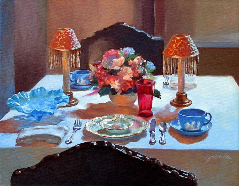 """Table For Two--Painting of A Classical Dinning Table"" original fine art by Joanna Bingham"