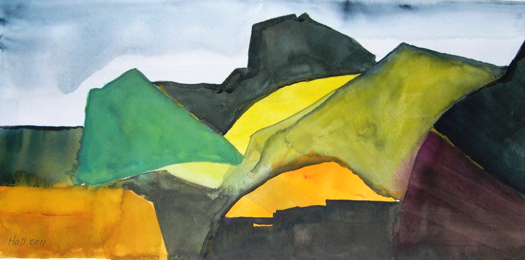 """Yellow Mountain Road"" original fine art by Nancy Hall"