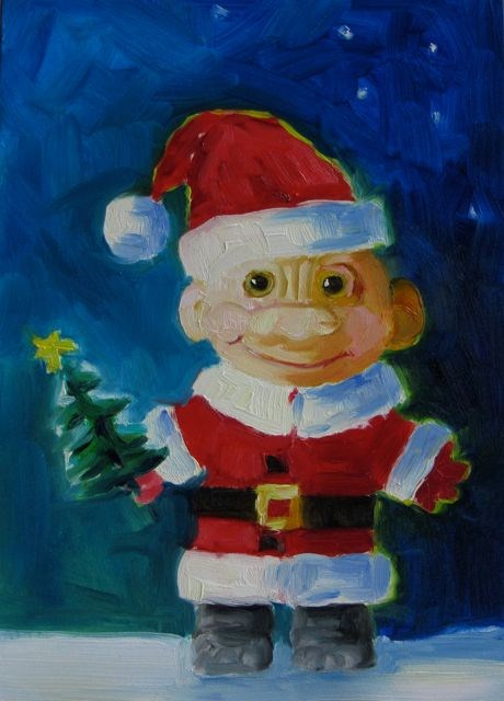 """Santa's Little Helper"" original fine art by Mb Warner"
