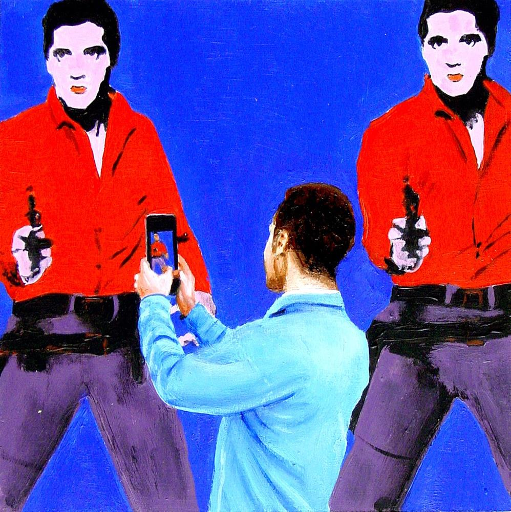 """Double Elvises- Painting Of Man Enjoying Painting Of Elvis Presley By Andy Warhol"" original fine art by Gerard Boersma"