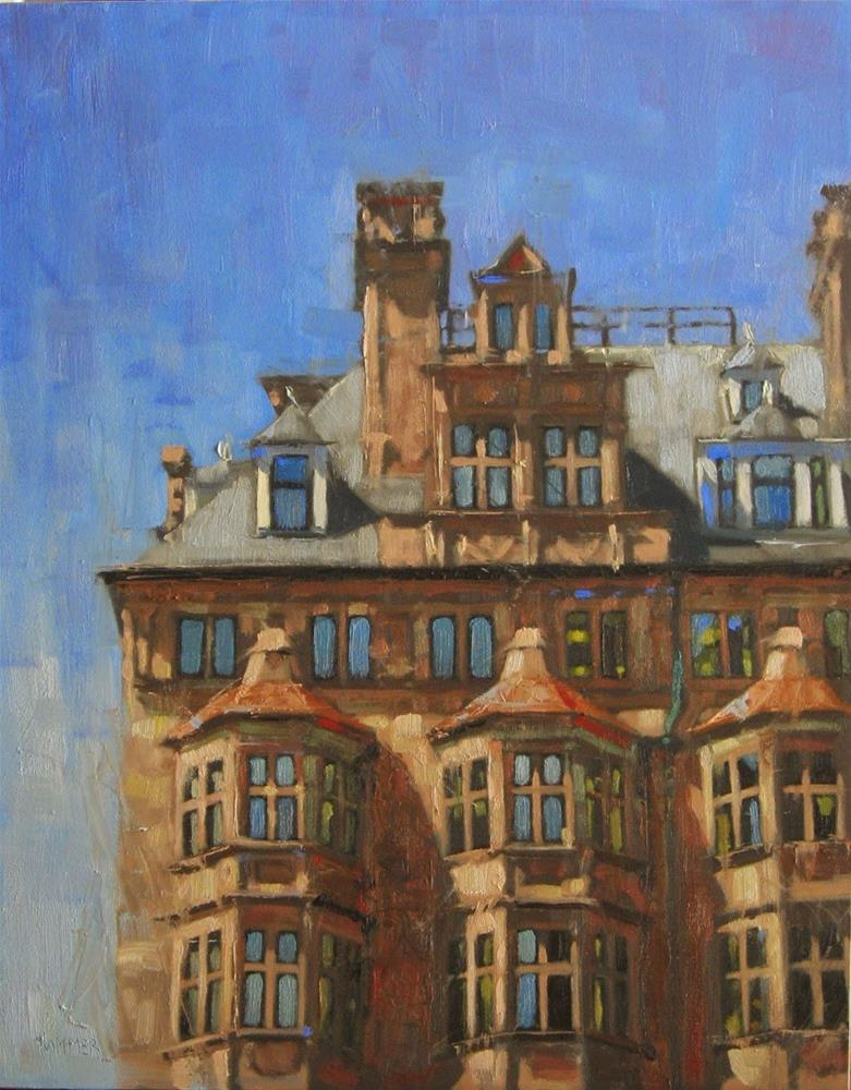 """London skyline  11 x 14  oil"" original fine art by Claudia Hammer"