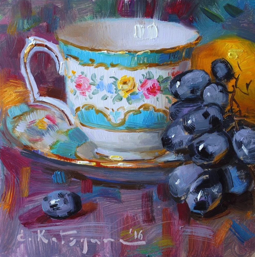 """Turquoise Cup and Grapes"" original fine art by Elena Katsyura"