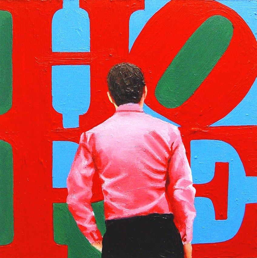 """Hope- Painting Of Man Enjoying Painting By Robert Indiana"" original fine art by Gerard Boersma"