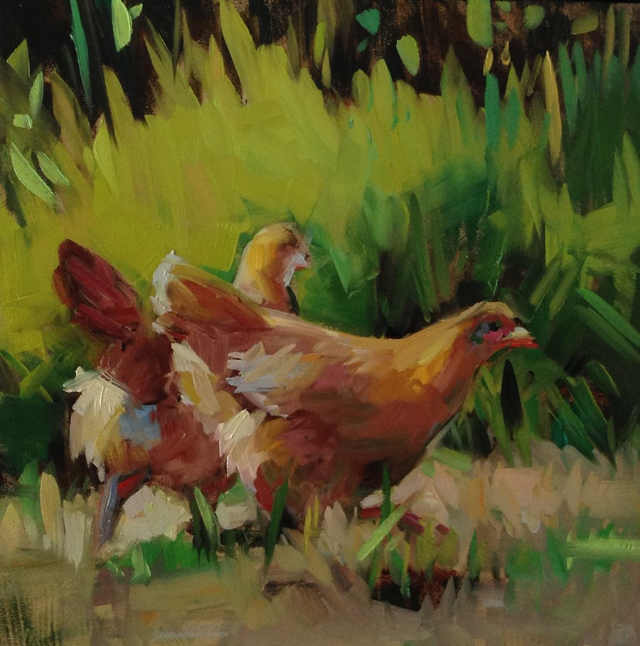 """Chicken Run"" original fine art by Patti McNutt"