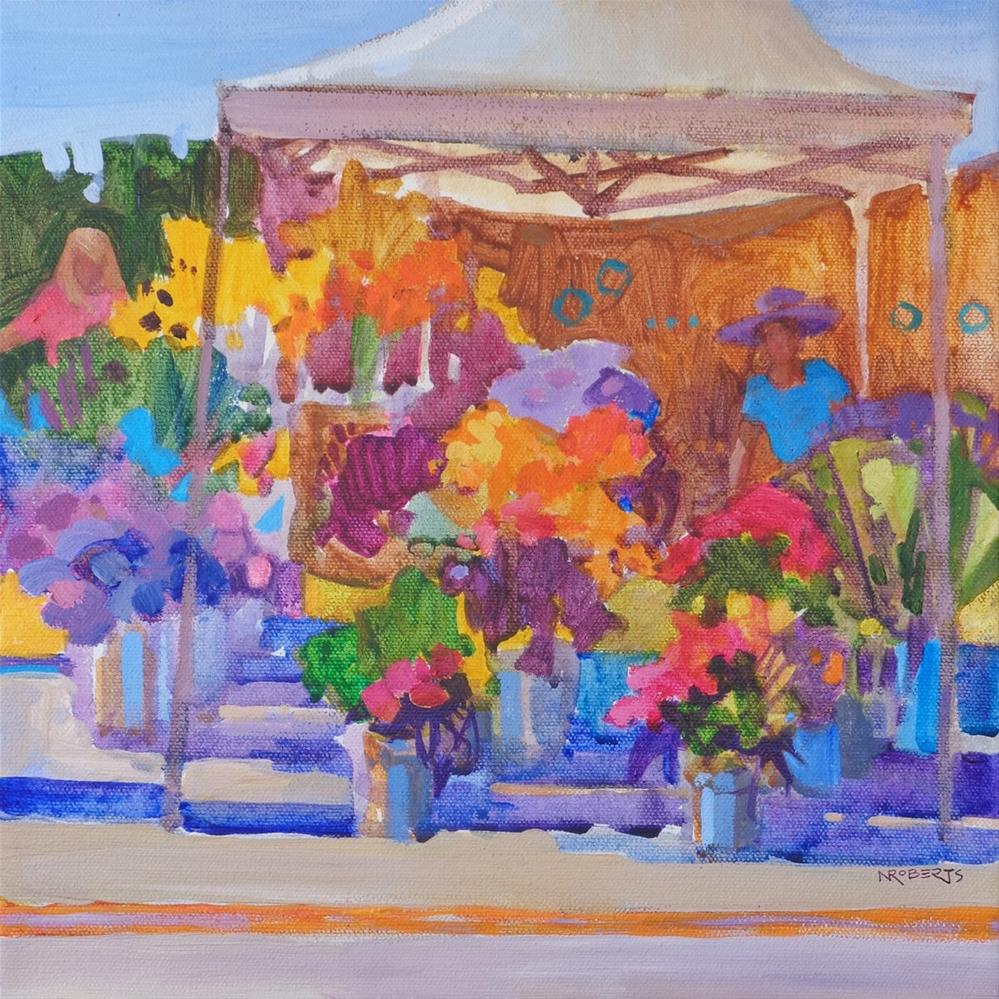 """Sunny Market Flowers"" original fine art by Nancy Roberts"