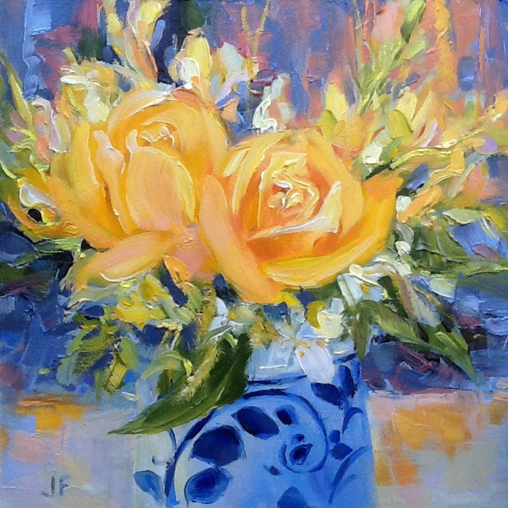 """Yellow Roses"" original fine art by Jean Fitzgerald"