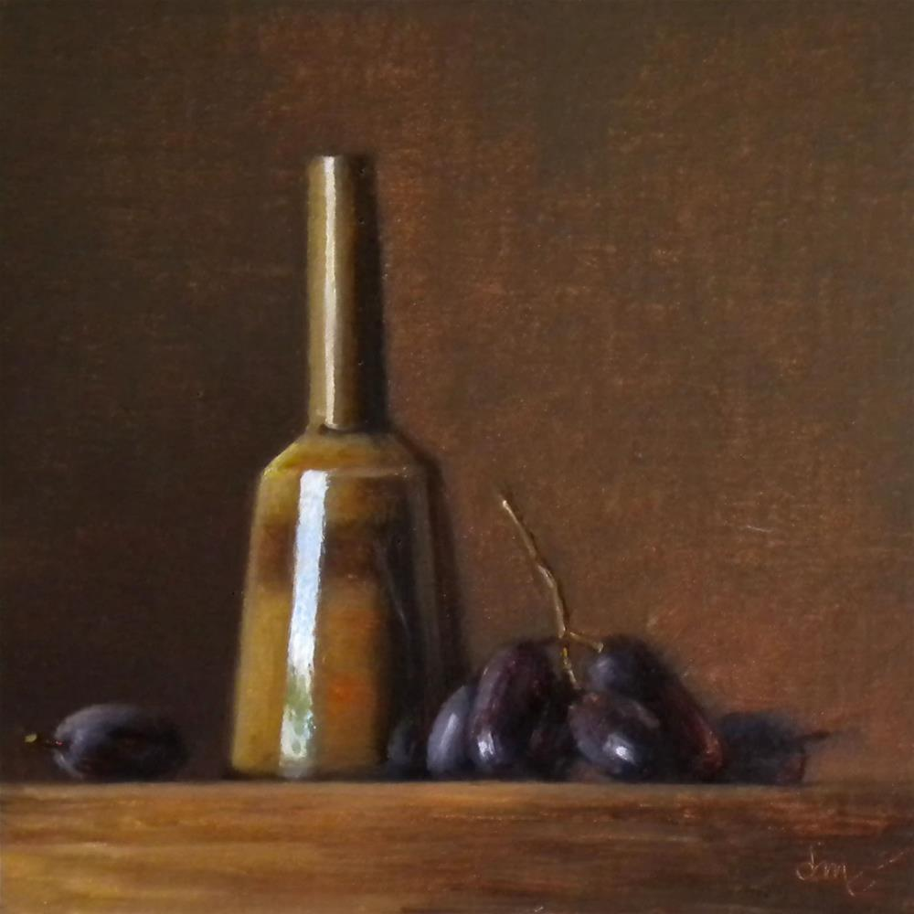 """Amber Mallet Bottle with Muscato Grapes"" original fine art by Darla McDowell"