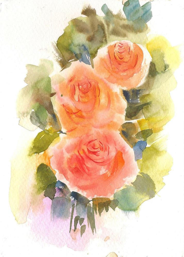 """Three Yellow roses 5x7"" original fine art by Asha Shenoy S"
