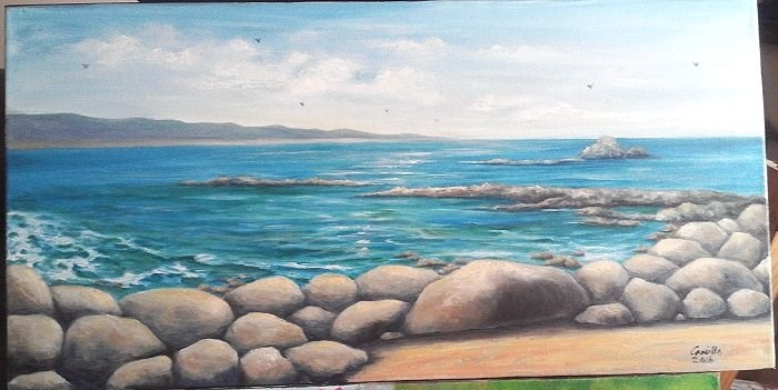 """Rocky Beach Seascape"" original fine art by Camille Morgan"