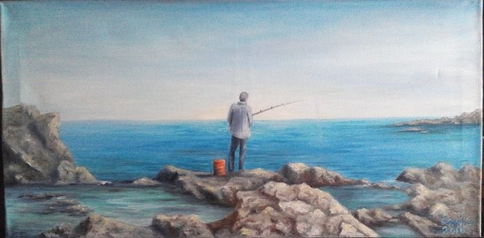 """Oil Painting Man Fishing Seascape"" original fine art by Camille Morgan"