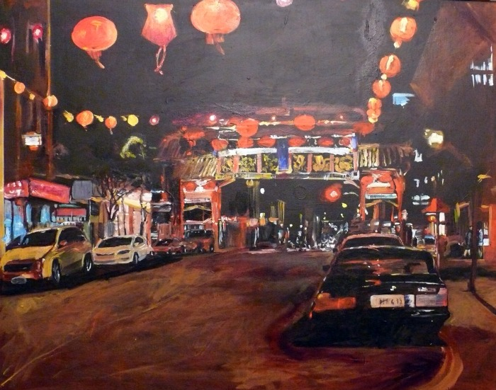 """China Town Night, acrylic on canvas, 80x100cm"" original fine art by Darlene Young"