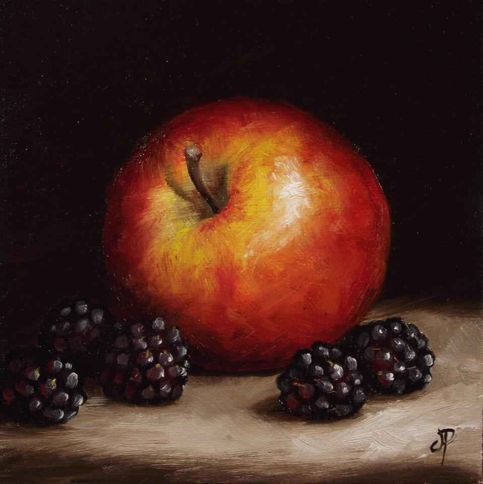 """Apple and Blackberries #2"" original fine art by Jane Palmer"