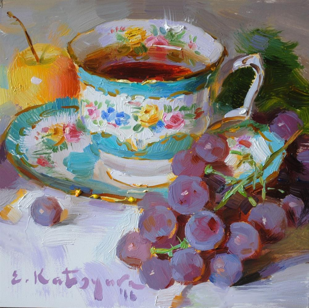 """Tea, Grapes and Apple"" original fine art by Elena Katsyura"