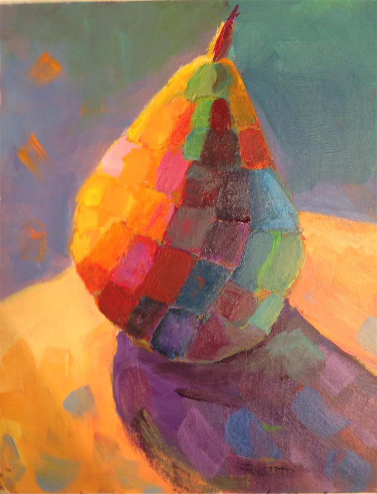 """Disco Pear"" original fine art by Marcia Bergtholdt"
