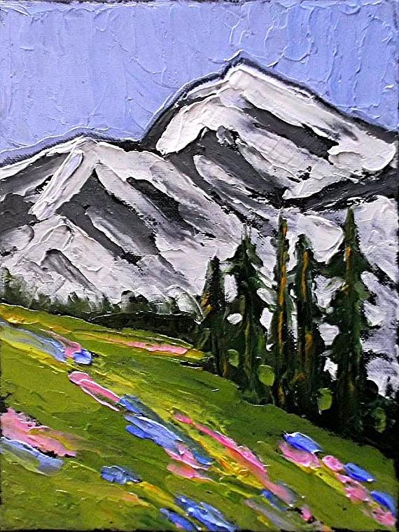 """Impressionist Painting ROCKY MOUNTAINS Plein Air Landscape Meadow Wildflowers Lynne French Art 9x12"" original fine art by lynne french"