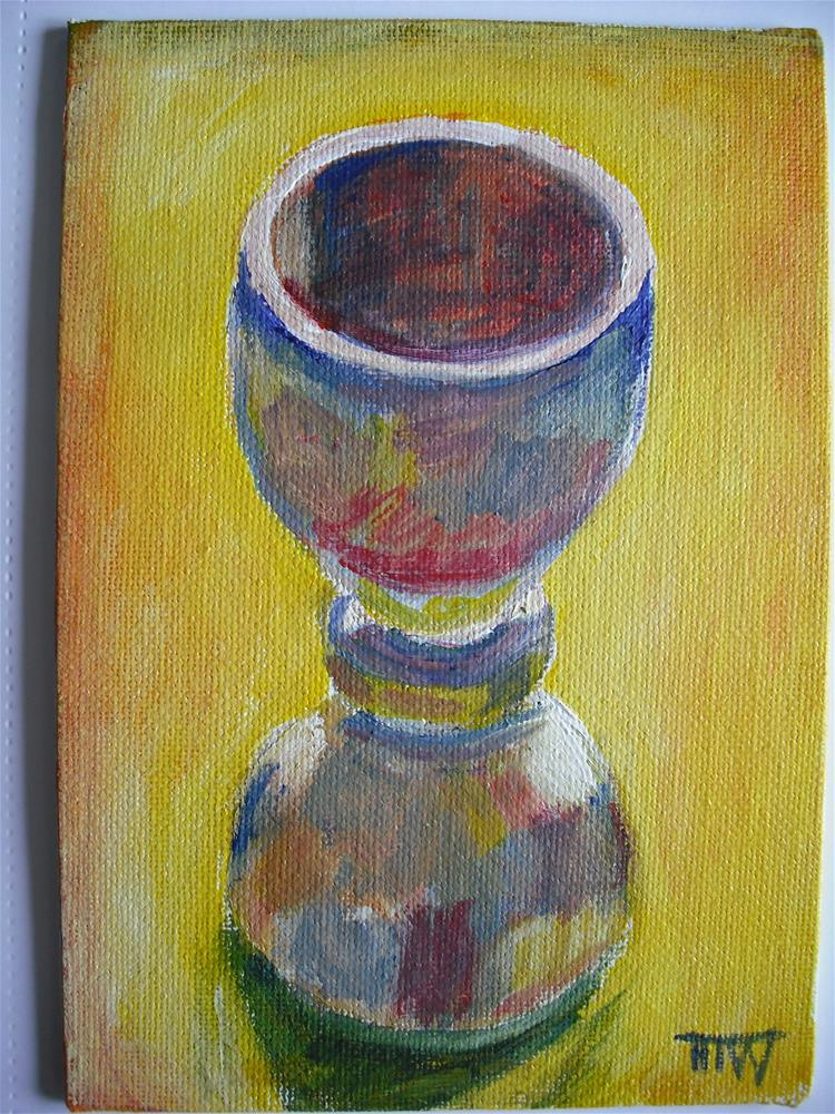 """Technicolour Eggcup"" original fine art by Heather Whiting"
