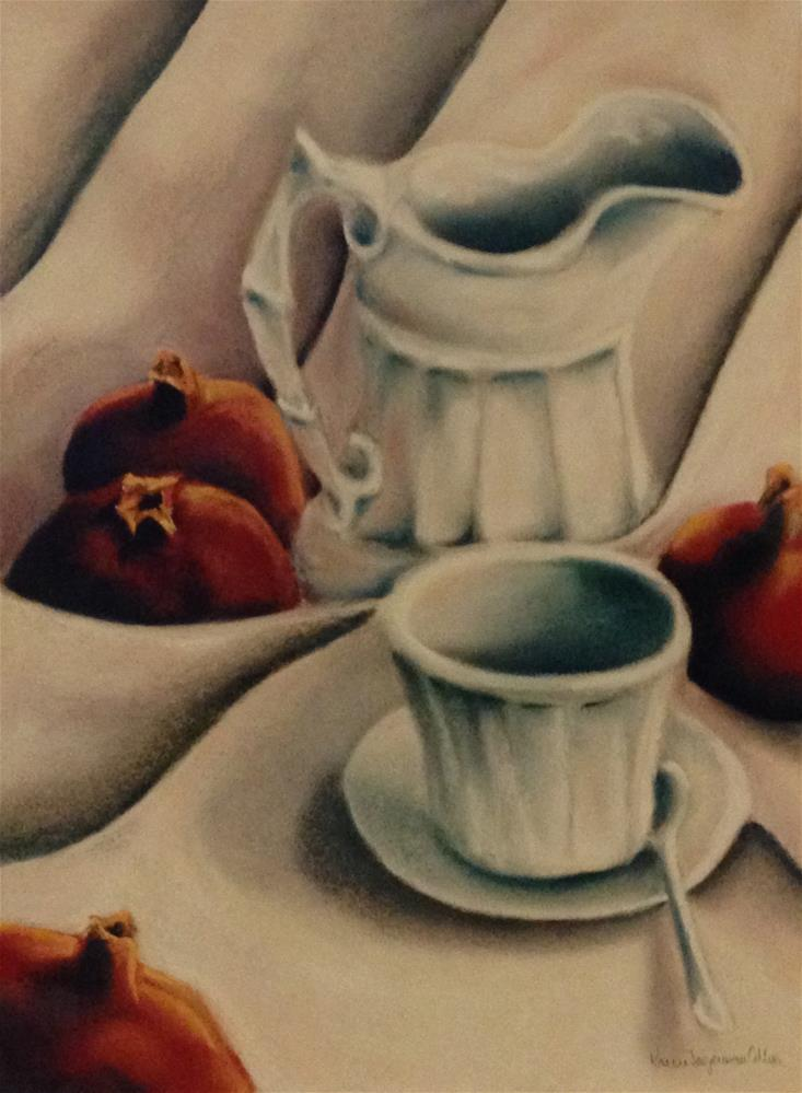 """""""Pomegranates with cup and saucer"""" original fine art by Karen Collins"""