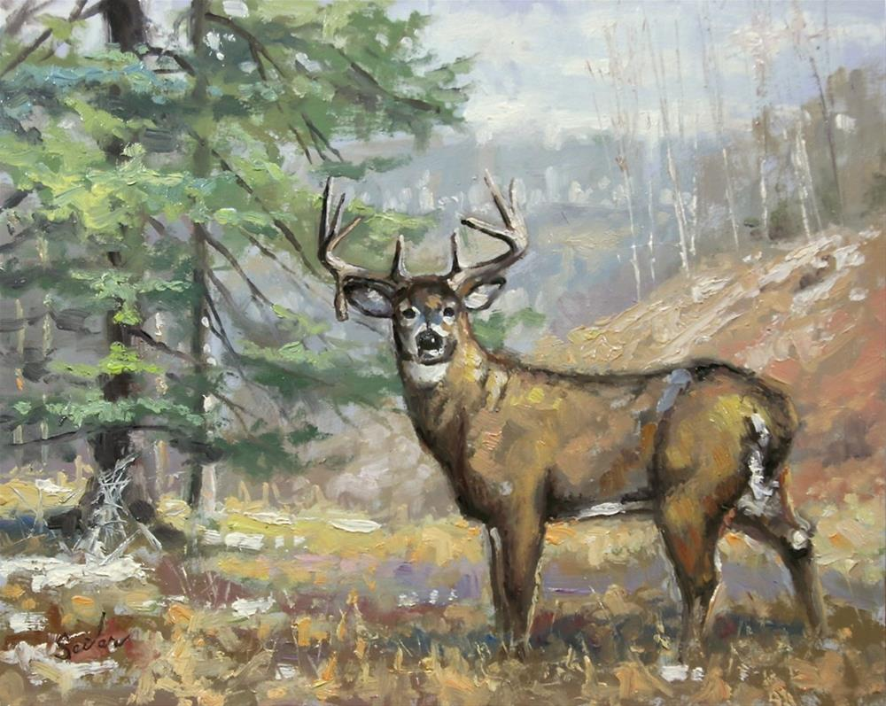 """Droptine Buck"" original fine art by Larry Seiler"