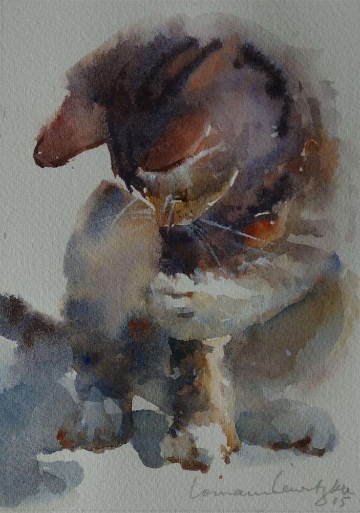 """""""Inquisitive Cat"""" original fine art by Lorraine Lewitzka"""