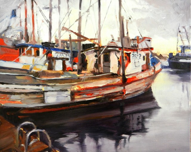 """Quileute Marina Boats  La Push, marine, fishing boat,  painting by Robin Weiss"" original fine art by Robin Weiss"
