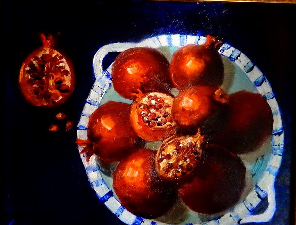 """Blue Bowl with Pomegranates"" original fine art by Phyllis Davis"