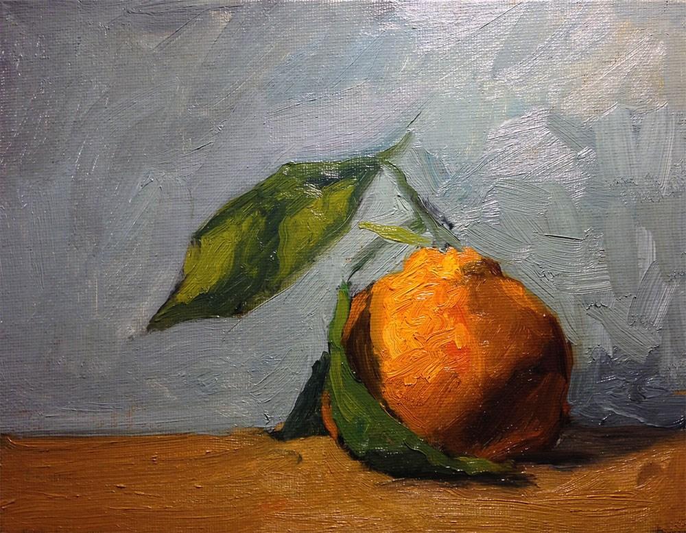 """Simple Satsuma On Blue"" original fine art by Chris Beaven"