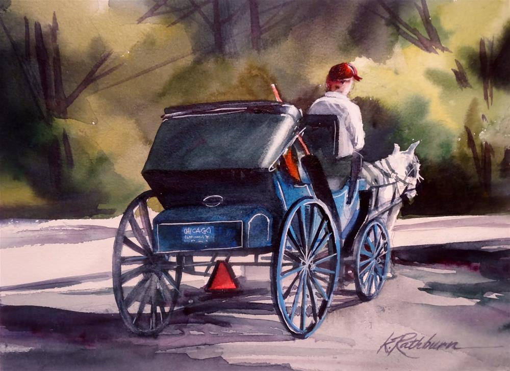 """Buggy Time -Chicago~Spring/Summer"" original fine art by Kathy Los-Rathburn"
