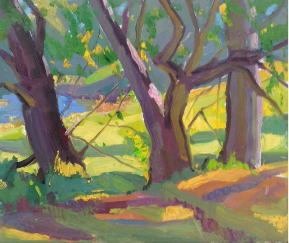 """ Three Trees"" original fine art by Michael McConnell"