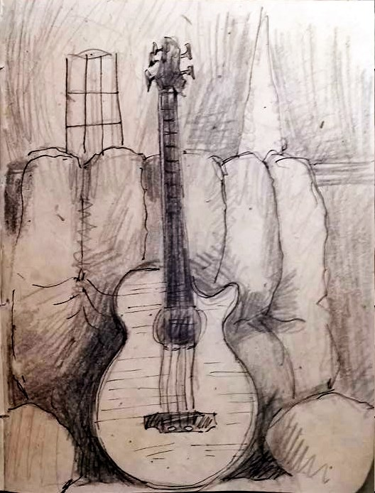 """Bass Guitar in the Recliner "" original fine art by Selby Minner"