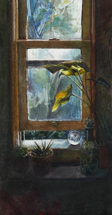 """Watercolor: Entry Window (& getting back to art after taking a long hiatus)"" original fine art by Belinda Del Pesco"